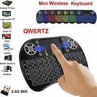 Mini QWERTZ Schweiz Deutsch Tastatur Funktastatur mit Touchpad Wireless 2.4 GHz TV Konsole Zubehör Notebook
