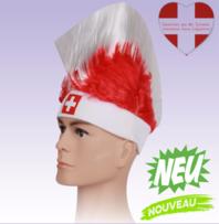 Perücke Irokese FAN Schweiz Suisse Switzerland Fanartikel Rot Weiss mit Flagge Fussball Hockey WM EM