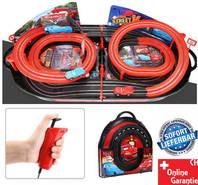 Portable Cars Rennbahn im Koffer Komplett-Set mit 2 Autos Car Racing Spielzeug Kinder RC mit Adapter Rennstrecke Kind Kinder Junge