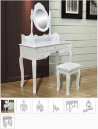Schminktisch mit Spiegel und Hocker 7 Schubladen Weiß 99241002
