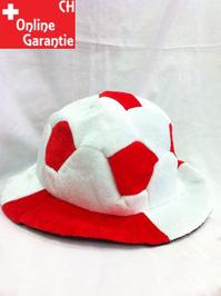 Schweiz Rot Weiss Fussball Fan Mütze Rotweiss Fussballkopf Hut mit Ball Fanartikel Hut Fanhut Fanmütze Switzerland