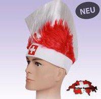 Schweiz Schwiiz Fan Hut Fanhut Irokese Fussball Hockey