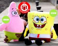 SpongeBob Schwammkopf Plüsch Plüschfigur Plüschtier Geschenk Weihnachten Kind Kinder Deko 120cm XXL Gross