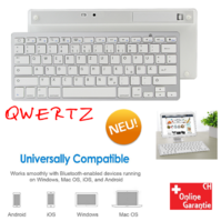 Universal Bluetooth 3.0 Tastatur Keyboard Batteriebetrieben Weiss Tablet Handy Computer QWERTZ iPad iOS Android