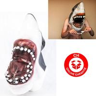 Weisser Hai Haimaske Horror Jaws Fasnacht Halloween Horror Blut Fisch Neuheit