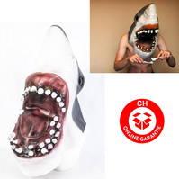 Weisser Hai Maske Tiermaske Haimaske Jaws Fasnacht Halloween Party Horror